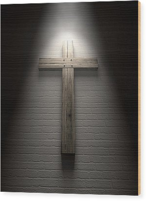 Crucifix On A Wall Under Spotlight Wood Print by Allan Swart