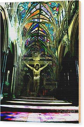 Crucifix Reflexions Wood Print