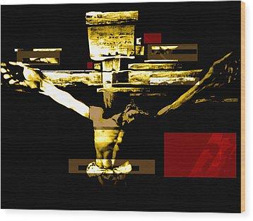 Crucifixion In Red Gold And Black Wood Print by Karine Percheron-Daniels