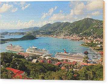 Cruise Ships In St. Thomas Usvi Wood Print