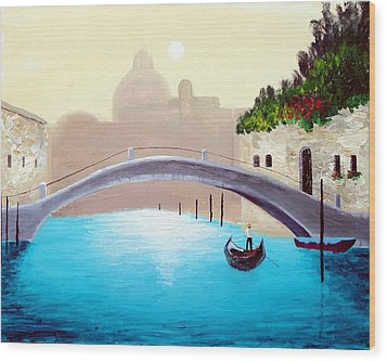 Wood Print featuring the painting Cruisin Venice by Larry Cirigliano