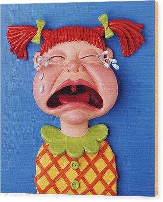 Crying Girl Wood Print by Amy Vangsgard