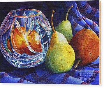 Crystal And Pears Wood Print by Roger Rockefeller