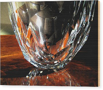 Wood Print featuring the photograph Crystal Bowl With Watercolor Filter by Mary Bedy