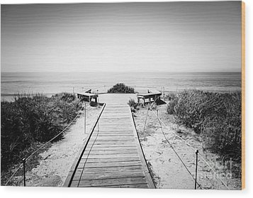 Crystal Cove Overlook Black And White Picture Wood Print by Paul Velgos