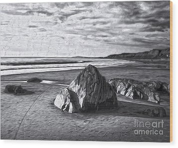 Crystal Cove Sea Shore - Black And White Wood Print by Gregory Dyer