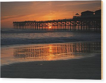 Crystal Pier Sunset Wood Print