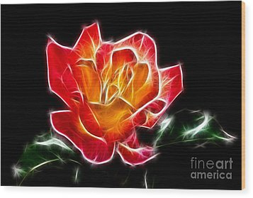 Wood Print featuring the photograph Crystal Rose by Mariola Bitner