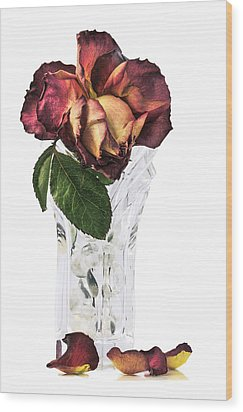 Crystal Rose Wood Print by Nancy Strahinic