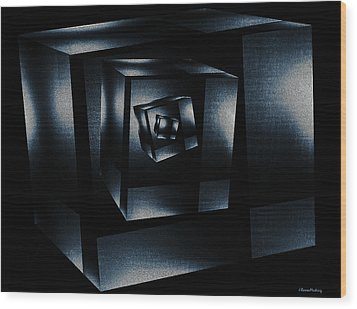Cube In Cube Wood Print by Ramon Martinez