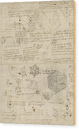 Cube Sphere Icosahedron Mention Of Known Project For Telescope  Wood Print by Leonardo Da Vinci