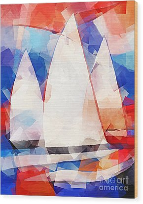 Cubic Sails Wood Print by Lutz Baar