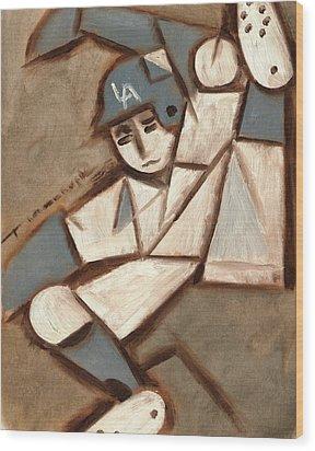 Cubism La Dodgers Baserunner Painting Wood Print by Tommervik