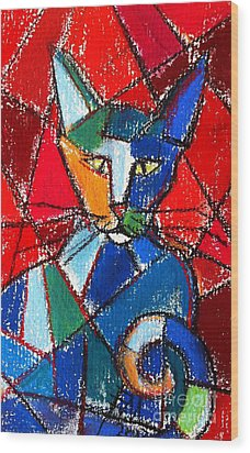 Cubist Colorful Cat Wood Print by Mona Edulesco
