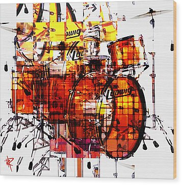 Cubist Drums Wood Print by Russell Pierce