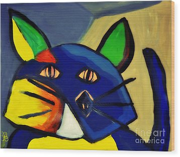 Cubist Inspired Cat  Wood Print by Mindy Bench