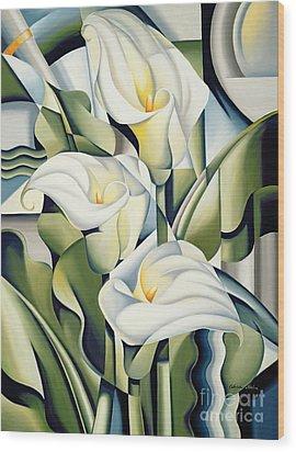 Cubist Lilies Wood Print