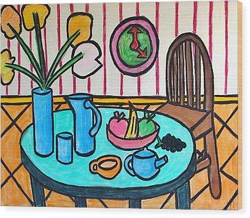Cubist Lunch Wood Print