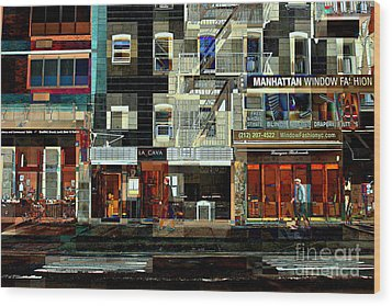 Shops Wood Print by Miriam Danar