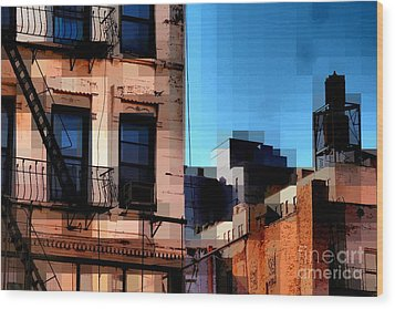 Up On The Roof Wood Print by Miriam Danar