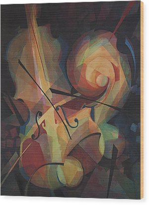 Cubist Play - Abstract Cello Wood Print by Susanne Clark