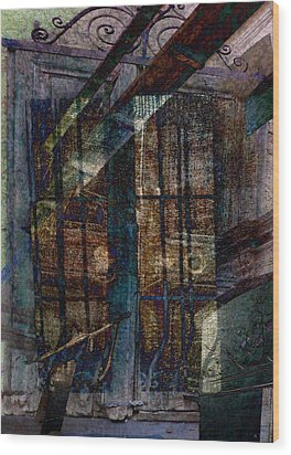 Cubist Shutters Doors And Windows Wood Print by Sarah Vernon