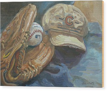 Cubs Fan Wood Print by Nora Sallows
