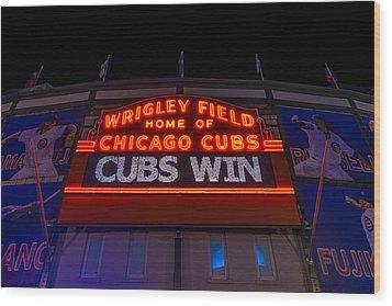 Cubs Win Wood Print by Steve Gadomski