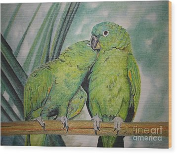 Wood Print featuring the painting Cuddles by Laurianna Taylor