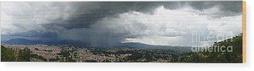 Cuenca Storm Panorama Wood Print by Al Bourassa