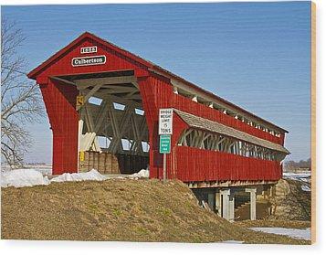 Culbertson Or Treacle Creek Covered Bridge Wood Print by Jack R Perry