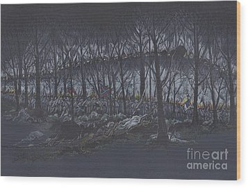Culp's Hill Assault Wood Print by Scott and Dixie Wiley