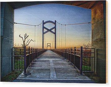 Cumberland River Pedestrian Bridge Wood Print by Patrick Collins