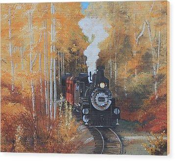 Cumbres And Toltec Railroad Steam Train Wood Print by Cecilia Brendel