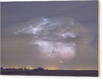 Cumulo-nimbus Lightning Storm And Star Trails Above Wood Print by James BO  Insogna