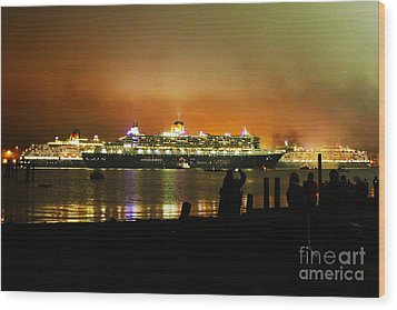 Wood Print featuring the photograph Cunard's 3 Queens by Terri Waters
