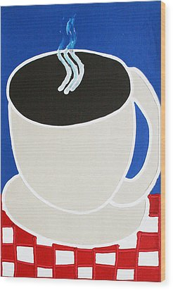Cup Of Coffee Wood Print by Matthew Brzostoski