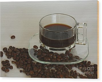 Cup Of Java Wood Print by Inspired Nature Photography Fine Art Photography