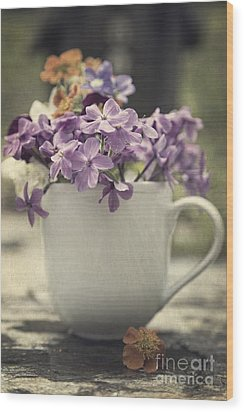 Cup Of Wildflowers Wood Print by Edward Fielding