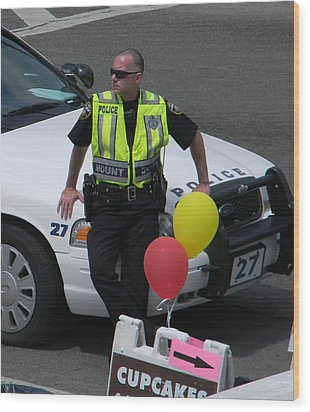Cupcake And Balloon Checkpoint Wood Print by Christy Usilton