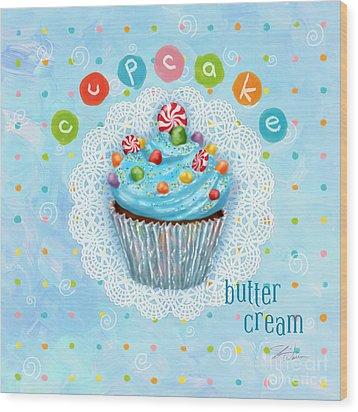 Cupcake-butter Cream Wood Print by Shari Warren