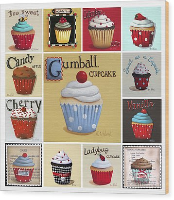Cupcake Collage Wood Print by Catherine Holman