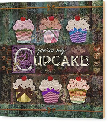 Wood Print featuring the digital art Cupcake by Evie Cook
