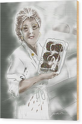Wood Print featuring the painting Cupcake Marge by Jean Pacheco Ravinski