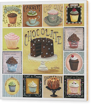 Cupcake Mosaic Wood Print by Catherine Holman