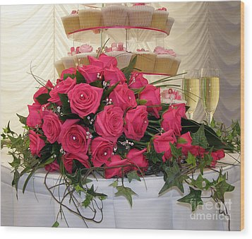 Cupcakes And Roses Wood Print by Terri Waters
