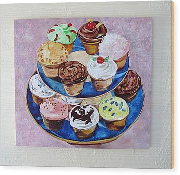 Cupcakes Wood Print by Marianne Clancy