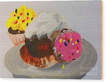 Wood Print featuring the painting Cupcakes by Marisela Mungia