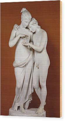 Cupid And Psyche Wood Print by Antonio Canova