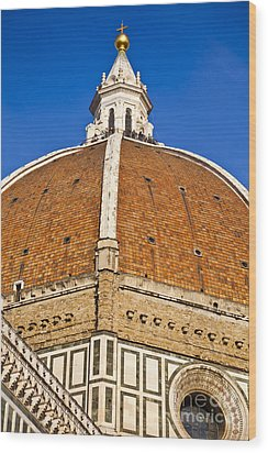 Cupola On Florence Duomo Wood Print by Liz Leyden